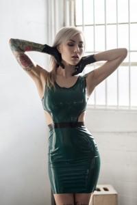 BRITTANY CUTOUT LATEX DRESS
