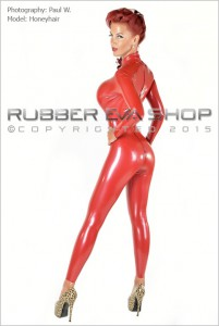 Laced Latex Panel Rubber Catsuit 3