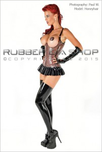 Laced Latex Contour Bust Corset front