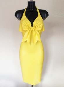 Latex Canary Cocktail Dress