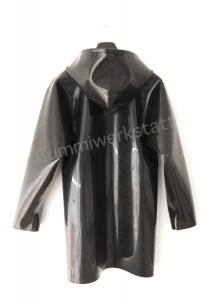 Heavy rubber jacket with hood back