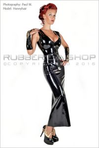 Laced Latex Long Rubber Ball Gown 1