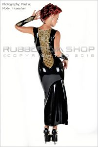 Laced Latex Long Rubber Ball Gown 3