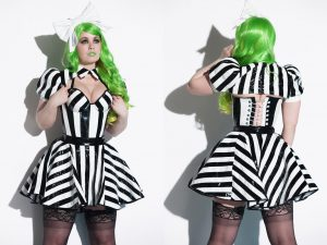 Striped PVC Skater Skirt Shrug