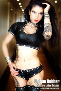 Latex Top and Panty with Rhinestones front