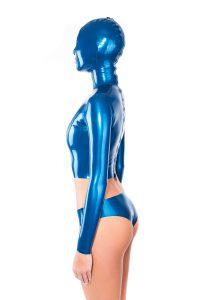 Latex mask with top attached