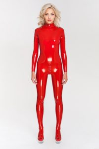 Sexy latex catsuit with cups