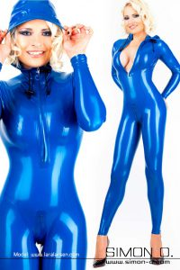 Hooded latex catsuit