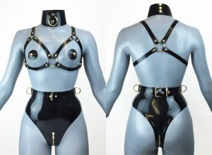 Latex Ringed Buckle Bondage Lingeries
