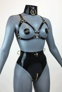 Latex Ringed Buckle Bondage Lingeries side
