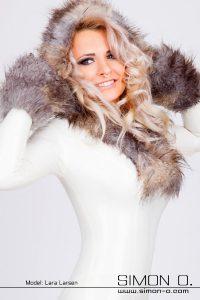 Fur Trim Latex Catsuit 1