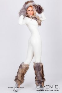 Fur Trim Latex Catsuit