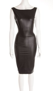 latex 50s dress front