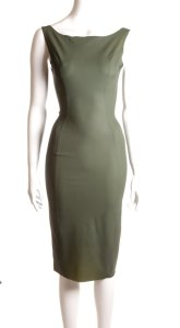 latex 50s dress olive
