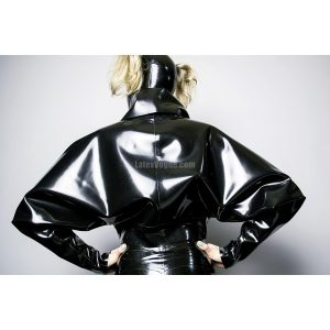 Latex batwing sleeves jacket - ALINE back