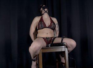Blindfolded , Panel Gagged, Restrained and Led Relentlessly to Bondage Orgasms