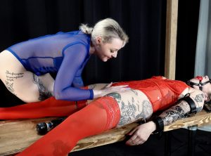 Padlocked Cuffed Red August Groans Under Arielle Aquinas's Vibrator
