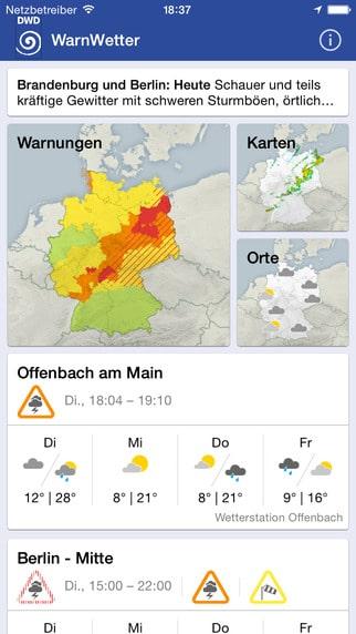 WarnWetter App – Die Unwetter App des DWD