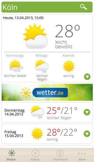 wetter.de App – Windstärken
