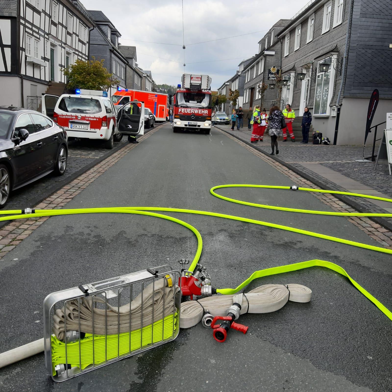 Gemeldeter Wohnungsbrand in der historischen Altstadt von Schmallenberg