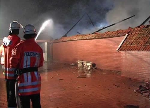 Schweinestall in Rieste stand in Flammen