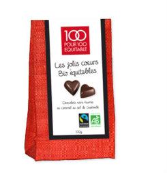 Jolis coeurs chocolat bio - Feuille de choux