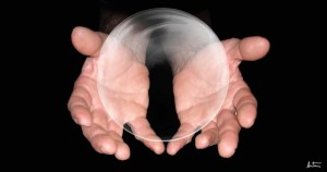 Someone holding a crystal ball