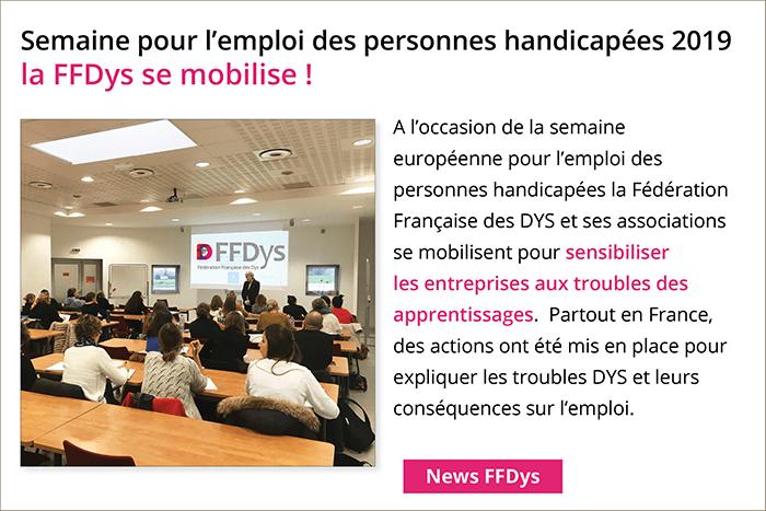 Semaine pour l'emploi des personnes handicapées 2019 la FFDys se mobilise !