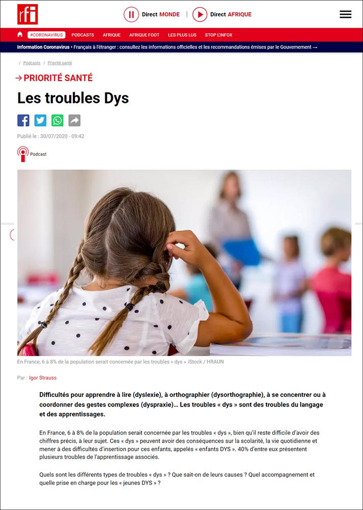 À écouter sur RFI, l'émission «Piorité Santé» consacrée aux troubles DYS - 30 juillet 2020