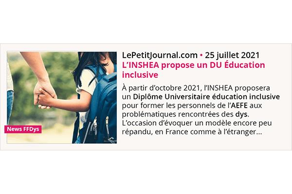 Rentrée 2021, l'INSHEA propose un Diplôme Universitaire en Éducation inclusive.