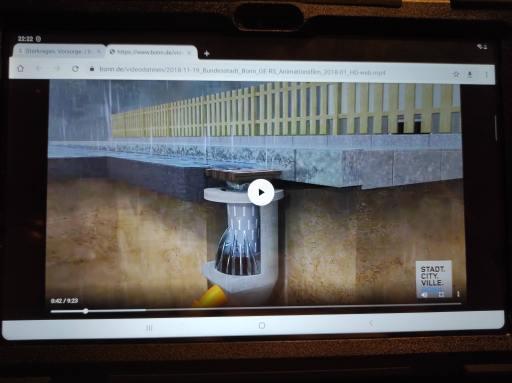 Animationsfilm Starkregen Bonn auf Tablet