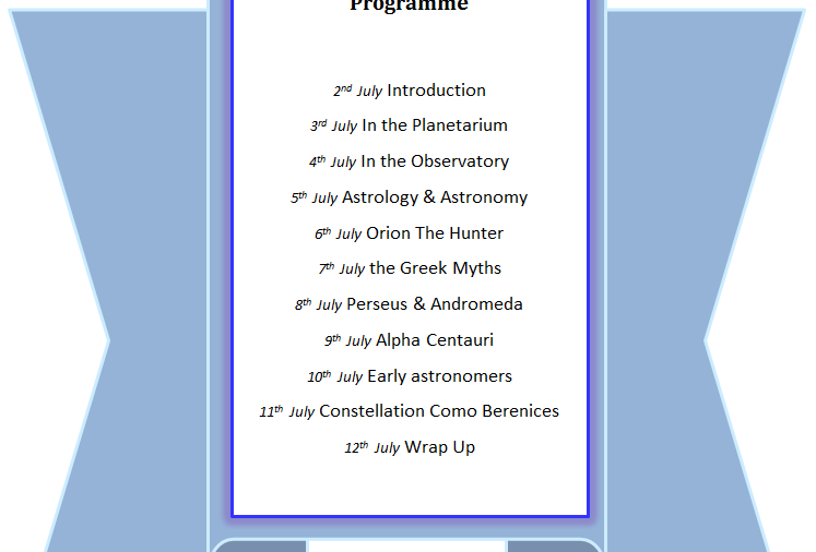 Programme of events graphic for the blog hop