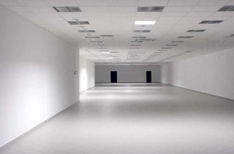 All-white spacious corridor