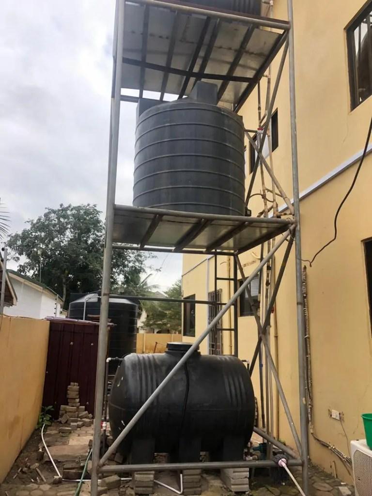 Polytanks on scaffolding