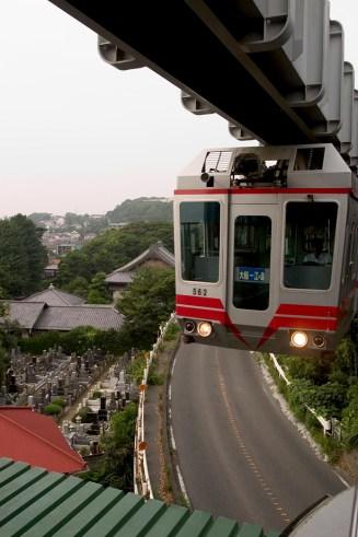 Le monorail suspendu par le haut Ofuna - Enoshima