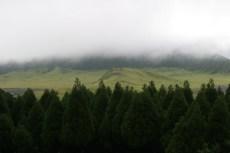 Le lendemain,on monte Aso San dans le brouillard. On precede de peu une bande de Bosozoku trainant par la.
