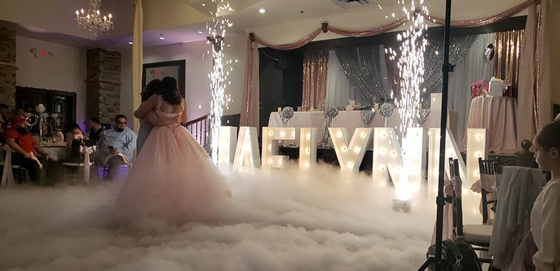 Quinceanera Dancing on the Clouds and Sparklers