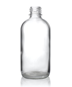 4 oz Clear Boston Round Hybrid Glass Bottle with 20-400 Neck Finish