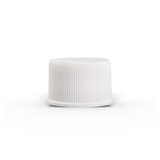 White 20-400 PP Ribbed Cap with Foam Liner