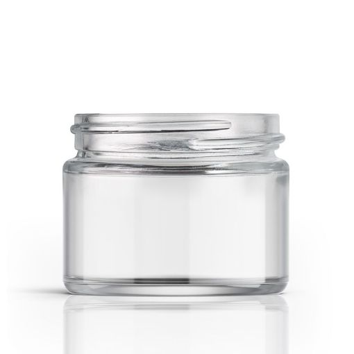 2 oz 53-400 Clear Glass Straight-Sided Round Jar
