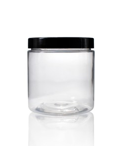 8 oz Clear PET Straight Sided Jar with Black Smooth Plastic Lined Cap (Set)