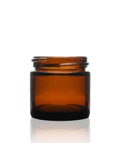 1 oz 43-400 Amber Glass Straight Sided Round Jar