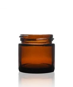 1 oz 43-400 Amber Glass Straight Sided Round Jar