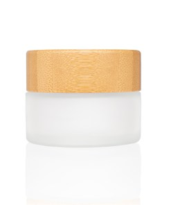 15g Frosted Glass Cream Jar with Bamboo Lid