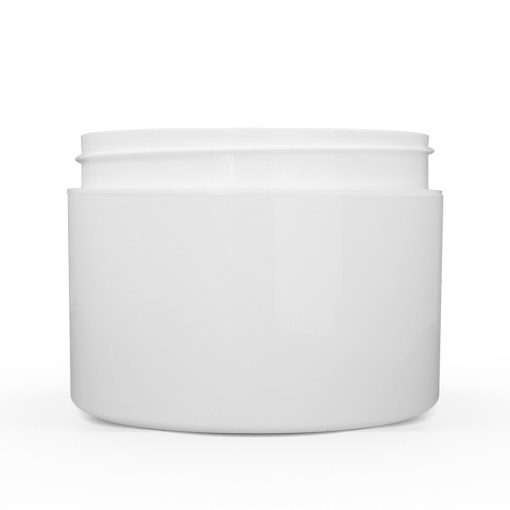 8 oz White Polypropylene Double Wall Straight Sided Jar
