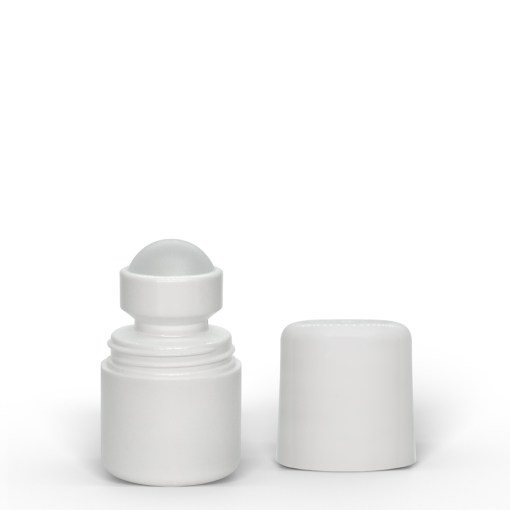1 oz White Roll-On Deodorant Bottle with Round Edge Cap