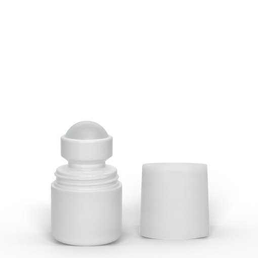 1 oz White Roll-On Deodorant Bottle with Straight Edge Cap
