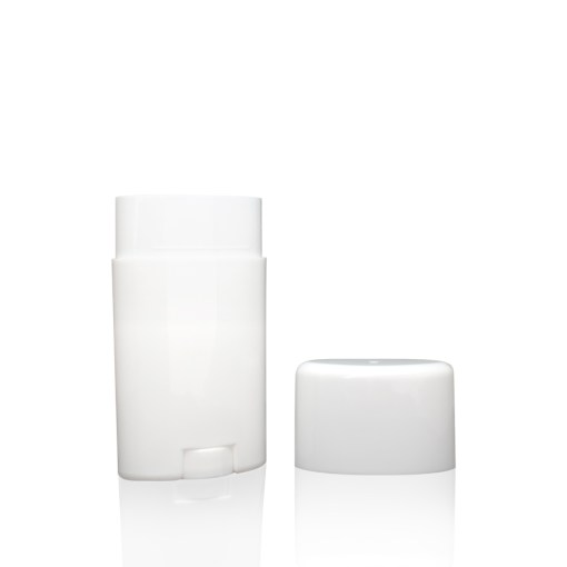 2.65 oz White Plastic Oval Deodorant Stick with Flat Top Cap