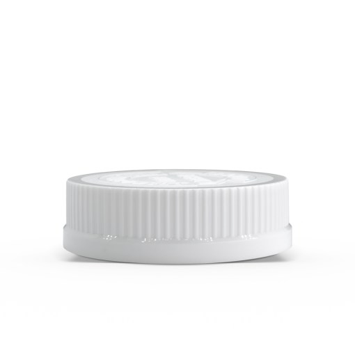"""54-400 White """"Push Down and Turn"""" Child-Resistant Ribbed Skirt Lid with Foam liner"""