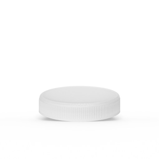 White 53-400 PP Ribbed Skirt Lid with Foam Liner